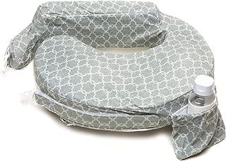 My Brest Friend Deluxe Nursing Pillow for Comfortable Posture, Grey Flower Key
