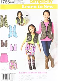 Simplicity 1786 Girl's Vest and Skirt Sewing Patterns, Sizes 3-6