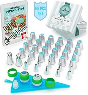Cake&Deco Russian Piping Tips Set - 68pcs Cake Cupcake Decorating Supplies Kit - 36 Icing Frosting Nozzles ...