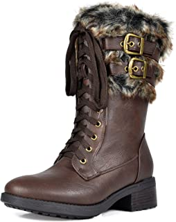 Women's Faux Fur Mid Calf Riding Combat Boots