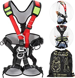 Happybuy Climbing Harness Fall Protection Rock Climbing Equip Gear Rappelling Harness for Rock Climbing Rappelling Downhill Skiing