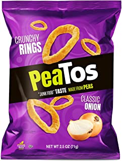 PeaTos Crunchy Rings, Snack Packs (4g Protein, 3g Fiber) [Classic Onion] 2.5 Ounce Bags, 4 Count   Bold Flavor, Pea Protei...