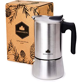 Groenenberg Espresso Maker | Induction Hob | 4-6 Cup Stove-Top Coffee Maker (200-300 ml) | Stainless Steel Moka Pot incl. Extra sealings & Step-by-Step Manual (4 Cup (200 ml))