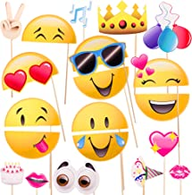 Windy City Novelties Emoji-Icon Smiley Face Photo Booth Prop Party Kit - 20 Pack