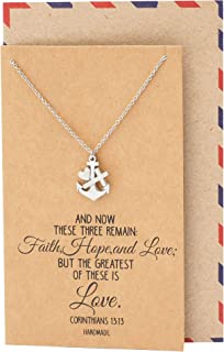 Faith Hope and Love Necklace with Heart Anchor Cross Crucifix Pendant, Nautical Pirate Inspired Charm, Religious Jewelry, Gifts for Women with Inspirational Quote on Greeting Card