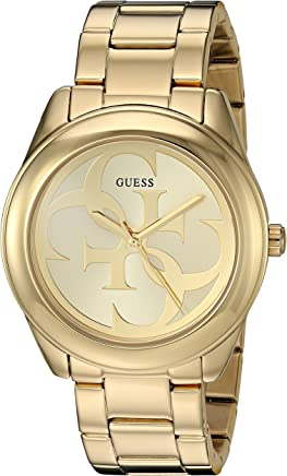 GUESS  Gold-Tone Stainless Steel Logo Bracelet Watch. Color: Gold-Tone (Model: U1082L2)