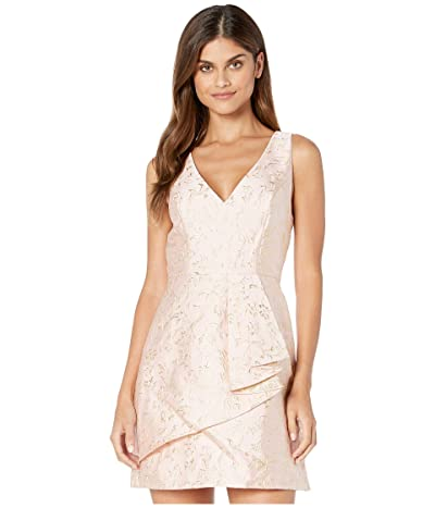 BCBGMAXAZRIA V-Neck Metallic Jacquard A-Line Dress (Bare Pink) Women