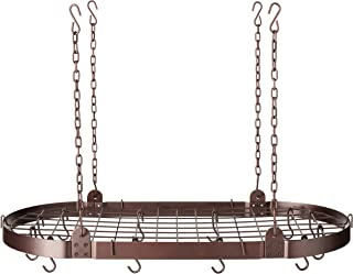 Medium Gauge Oval Hanging Pot Rack with Grid & 12 Hooks