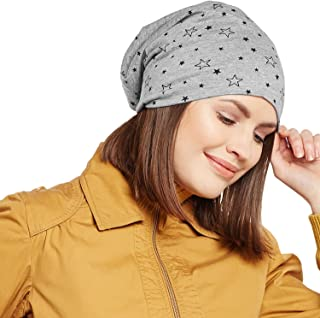 Vimal Jonney Grey Melange Star Printed Cotton Beanie Cap For Women-CAP_PRINTNO.1_MLG_001
