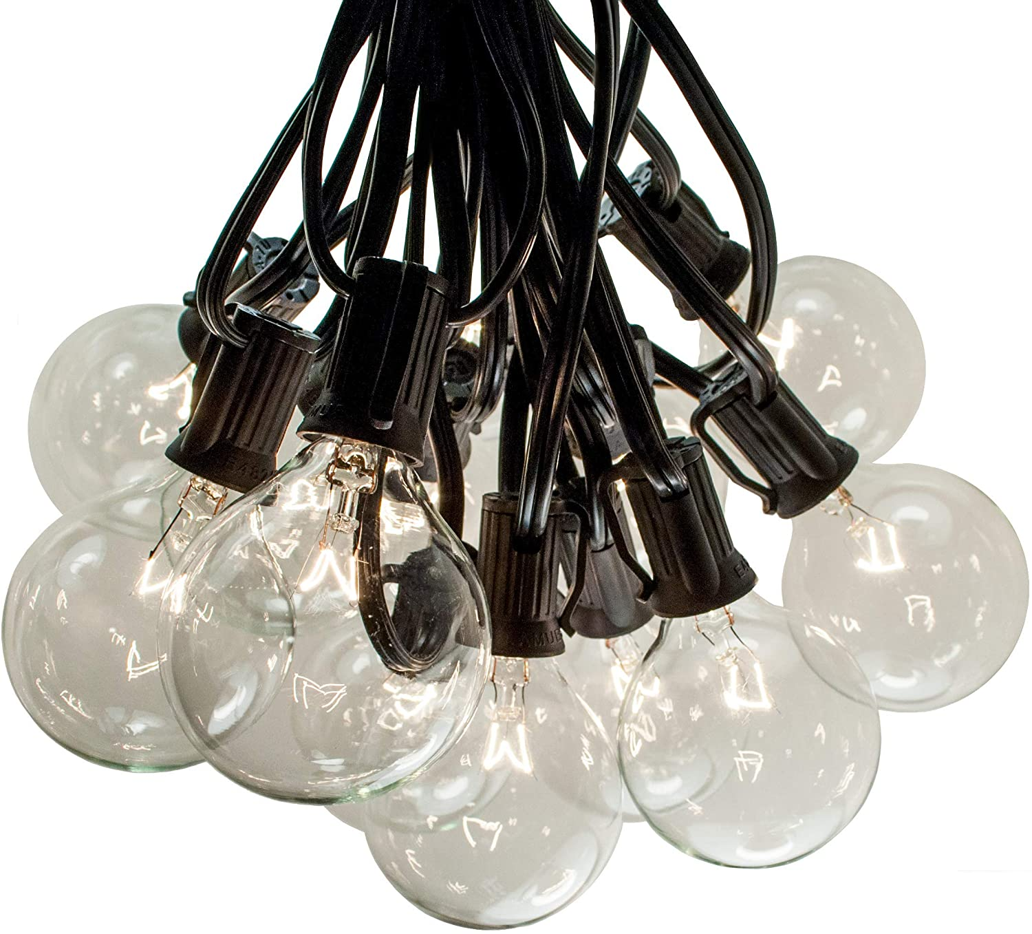 50 Foot Outdoor String Lights - Black Wire - 50 G50 Clear 2 Inch Globe Bulbs (+ 2 Free Spares) for Cafe Bistro Market Deck Porch and Party Lighting