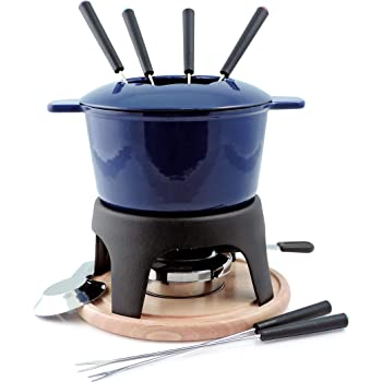 Swissmar Sierra 1.6-Quart Cast Iron Meat Fondue Set, 11-Piece, Deep Blue