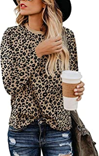 Women's Casual Tops Leopard Print T-Shirt Basic with Crewneck Long Sleeve Soft Stretchy Blouse