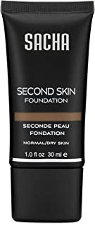 Second Skin Liquid Foundation by Sacha Cosmetics, Best Liquid Face Makeup to give Flawless Looking Skin, Medium Coverage, for All Skin Types, 1 oz, Perfect Spice