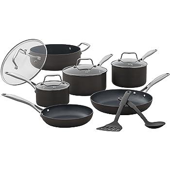 Amazon Brand – Stone & Beam Kitchen Cookware Set, 12-Piece, Pots and Pans, Hard-Anodized Non-Stick Aluminum