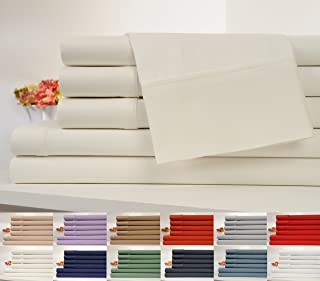 Cifelli Home 6 Piece OrganicPro 100% Certified Organic Cotton Queen Bed Sheet Set, Deep Pocket, Queen, Ivory