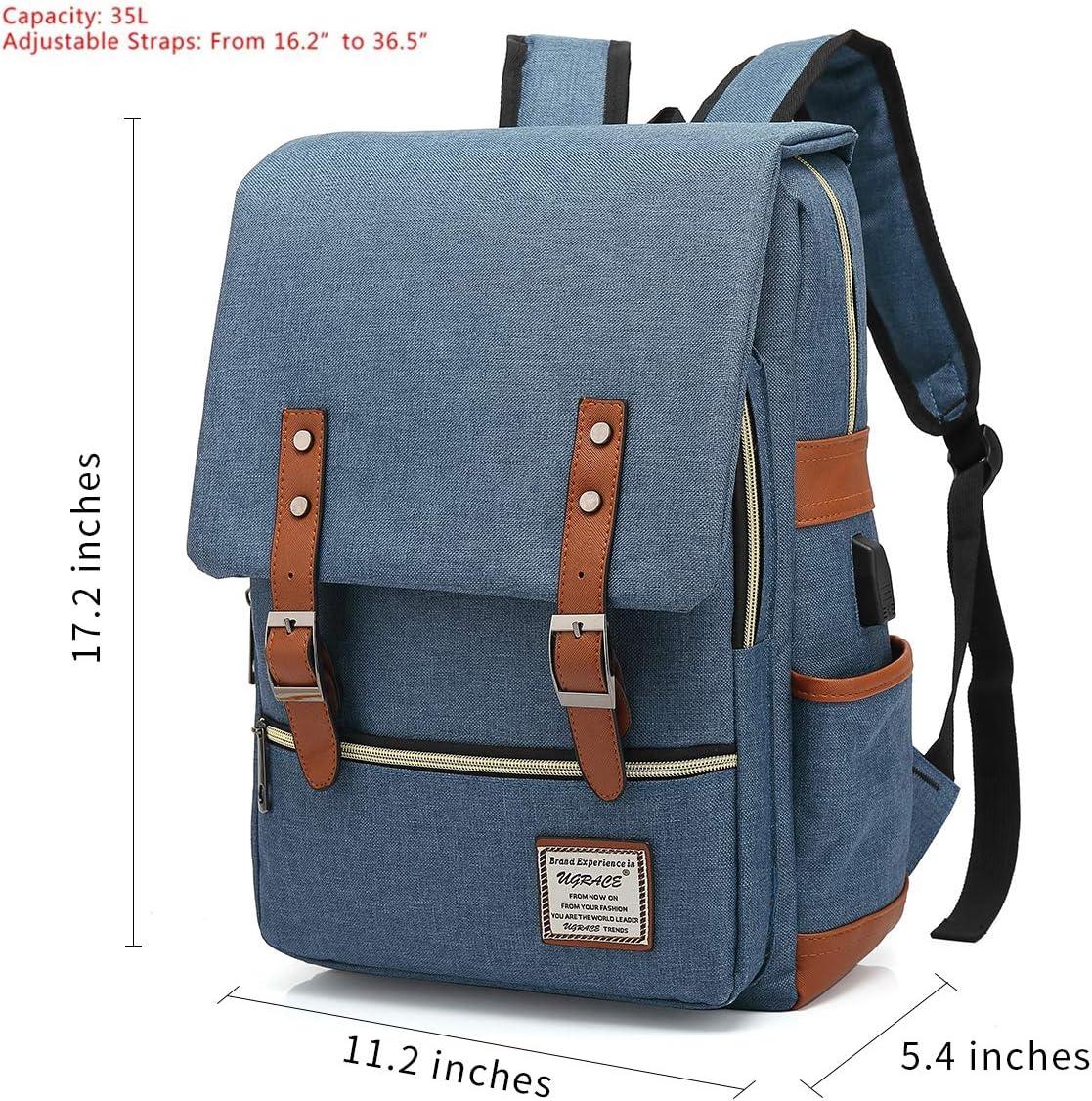 UGRACE Vintage Laptop Backpack with USB Charging Port, Elegant Water Resistant Travelling Backpack Casual Daypacks School Shoulder Bag for Men Women, Fits up to 15.6Inch Laptop in Blue