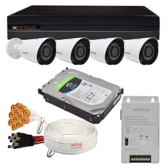 CP PLUS 2.4MP, H.265+, 2TB Storage, 4 Camera Full HD CCTV Wired Security Camera Set Combo Kit with 4Ch DVR, 4 Bullet Cameras, 2TB HDD, Power Supply, 90Mtr Cable, Audio Mic and Connectors