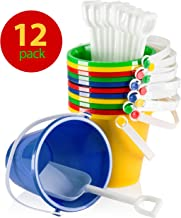 "Top Race 5"" Inch Beach Pails Sand Buckets and Sand Shovels Set for Kids 