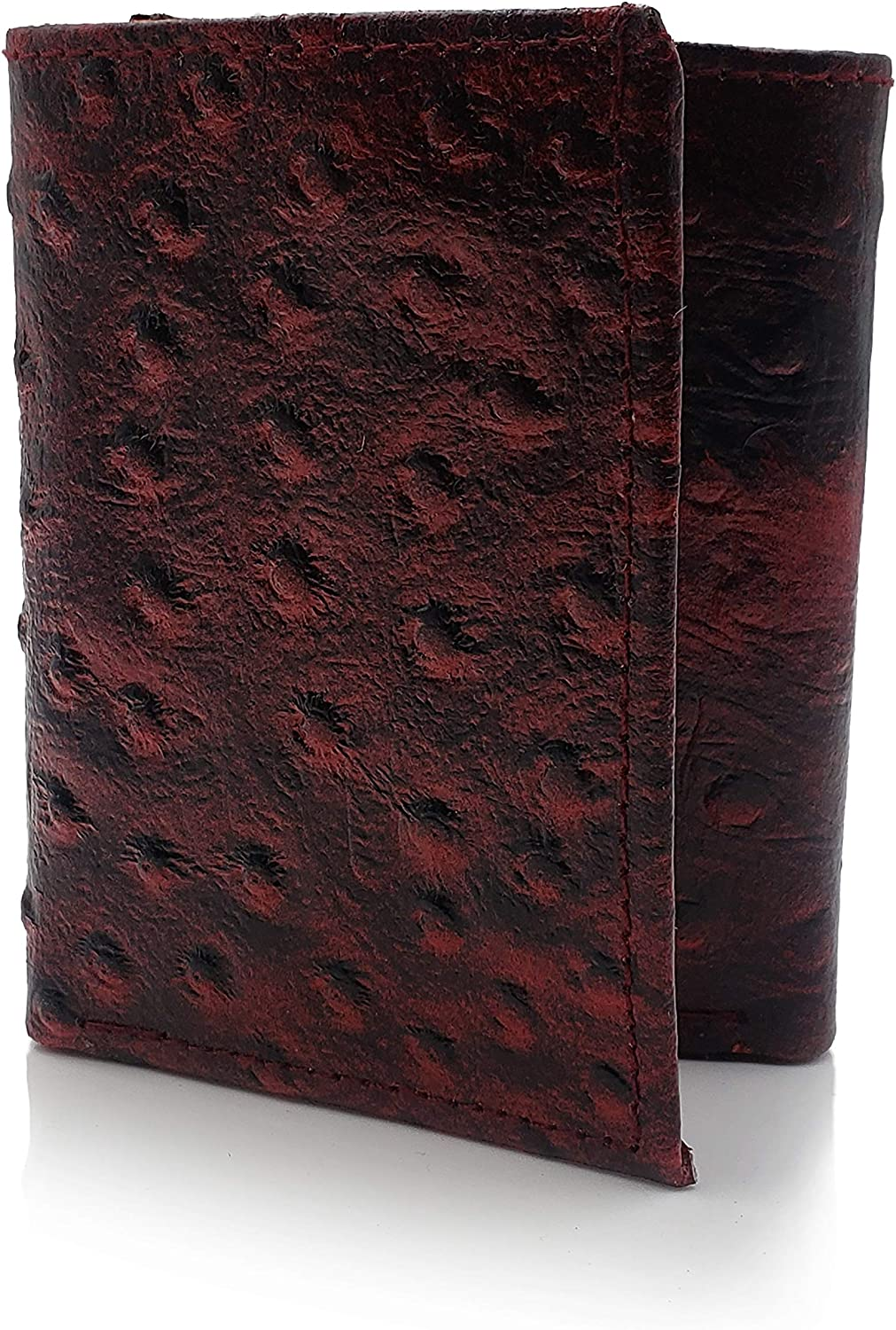 AG Wallets Genuine Leather Men's Ostrich Skin Embossed Trifold Wallet (Red)