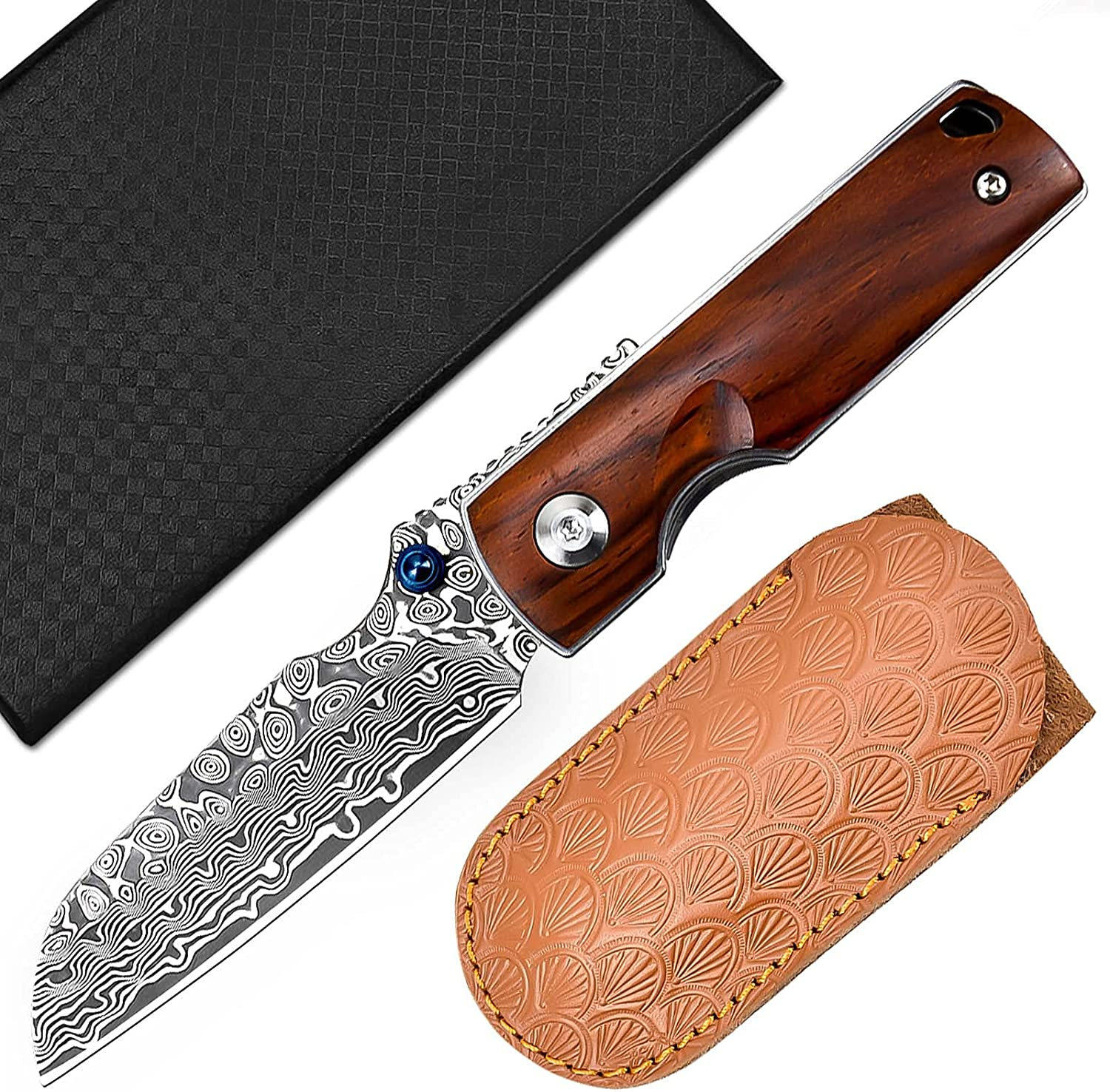 AUBEY Damascus Pocket Knife with for Outdoor OFFicial store Men Survival Ranking TOP13 Clip