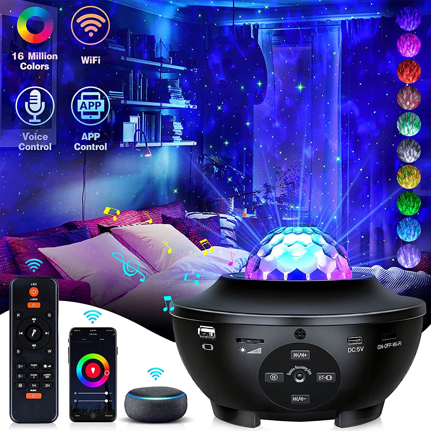 Galaxy Projector Star Projector Night Light with Bluetooth Music Speaker and Remote Control Smart APP Work with Alexa Google Home Star Galaxy 360 Pro Projector for Ceiling Bedroom for Baby Kids Adult