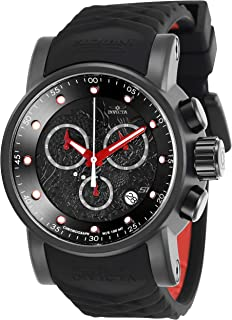 Men's S1 Rally Stainless Steel Quartz Watch with Silicone Strap, Black, Red, 24 (Model: 28186)