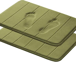 Absorbent Soft Comfortable Thick Bath Rugs Memory Foam Fieldcrest Luxury Bath Rugs Machine Wash Easier to Dry for Bathroom Floor Rug, 17-Inch by 24-Inch, Olive, Striped Pattern, Two Pieces