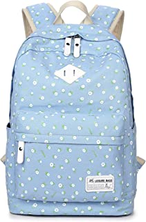 School Bookbags for Girls, Floral Backpack College Bags Light Daypack Haversack Bag by Leaper (Light Blue)