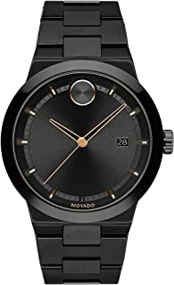Movado Mens' Black Dial Ionic Plated Black Steel Watch - 3600662