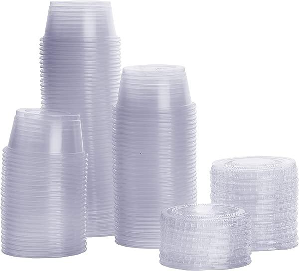 100 Sets 2 Oz Plastic Portion Cups With Lids Souffle Cups Jello Shot Cups