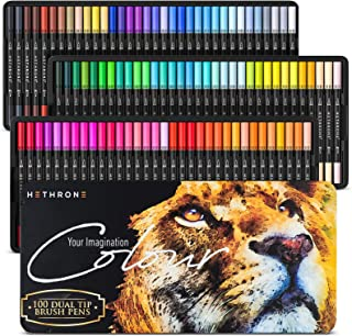 Hethrone Dual Tip Brush Pens, Dual Tip Marker Pens Water Based Ink for DIY Coloring Book, Sketching, Painting, Drawing, Ma...