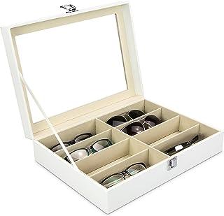 47,5 x 37,5 x 6cm Buyiworld Brillenbox zur Aufbewahrung von 18 Brillen Sonnenbrillen f/ür Brillendisplay Schwarz
