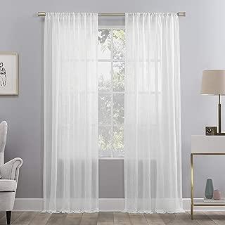 No. 918 Genevieve 2-Pack Linen Weave Semi-Sheer Rod Pocket Curtain Panel Pair, 50