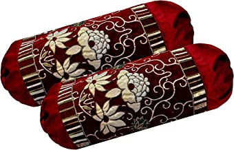 Rj Products Velvet Chenille Luxury Bolsters Cover (16 X 32) - Pack of 2 Maroon (Maroon_Design_03)