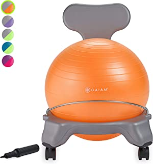 Gaiam Kids Balance Ball Chair - Classic Children's Stability Ball Chair, Child Classroom Desk Seating