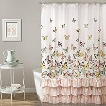 Lush Decor, Pink Flutter Butterfly Shower Curtain | Textured Ruffle Print Fabric Bathroom Decor, x 72