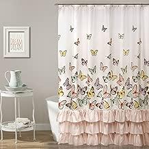 Lush Decor Lush Décor Flutter Butterfly Shower Curtain, 72 Inch x 72 Inch, Pink