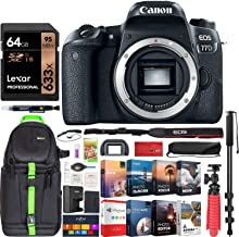 $699 Get Canon EOS 77D 24.2 MP CMOS (APS-C) Digital SLR Camera with Wi-Fi & Bluetooth Body Bundle with 64GB Memory Card, Photo and Video Professional Editing Suite and Accessories (11 Items)