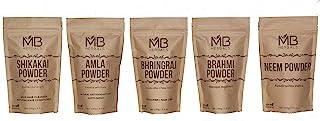 MB Herbals Hair Care Powders COMBO Pack | Shikakai | Neem | Brahmi | Amla | Bhringaraj | Powders | 100 Grams Each