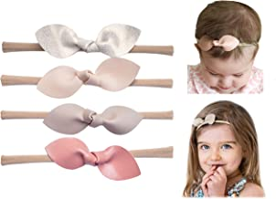 California Tot Rabbit Ears Faux Leather Bow–Stretch Headbands for Baby Toddler Girls, Set of 4