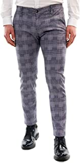 25c88e0d80e8 Pantaloni Uomo Elegante a Quadri Primavera Cotone Leggero Slim Primaverile  Chino Classico Pantalone Tasche Americane Blu