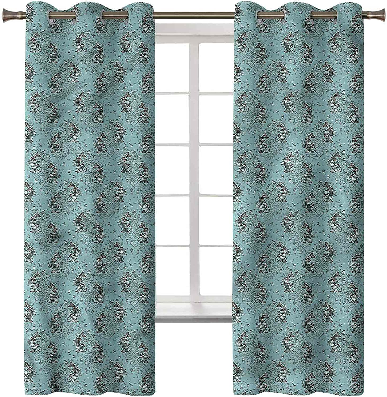 Blackout Curtains Thermal Insulated New life Home Brand new Drawn Hand Fish Decor