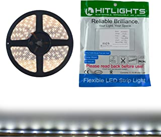 Waterproof Cool White LED Light Strip, Premium High Density 3528 - 16.4 Feet, 600 LEDs, 5000K, 164 Lumens per Foot. 12V DC. UL-Listed