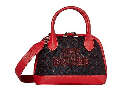 LOVE Moschino Stitched Love Bag (Black PU/Red PU) Handbags