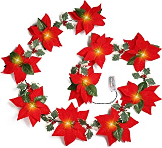 Geefuun 2PCS Poinsettia Christmas Flowers Decorations Garland String Lights - 13FT Xmas Tree Artificial Ornaments for Indo...