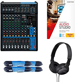 Yamaha MG12XU 12-Input 4-Bus Mixer with Effects Bundled with 4 x 20 Foot XLR Cables, Lightweight On-Ear Stereo Headphones, and Magix Sound Forge Audio Studio 12 Software