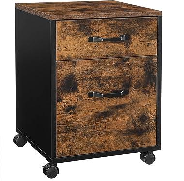 VASAGLE Caisson 2 tiroirs sur roulettes, Rangement Bureau Mobile, pour Documents, Format A4, classeurs Suspendus, Style Indus