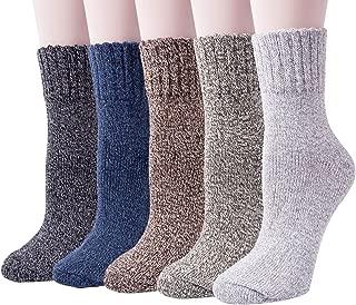 5 Pack Womens Warm Wool Socks Thick Knit Winter Cabin Cozy Crew Socks Gifts