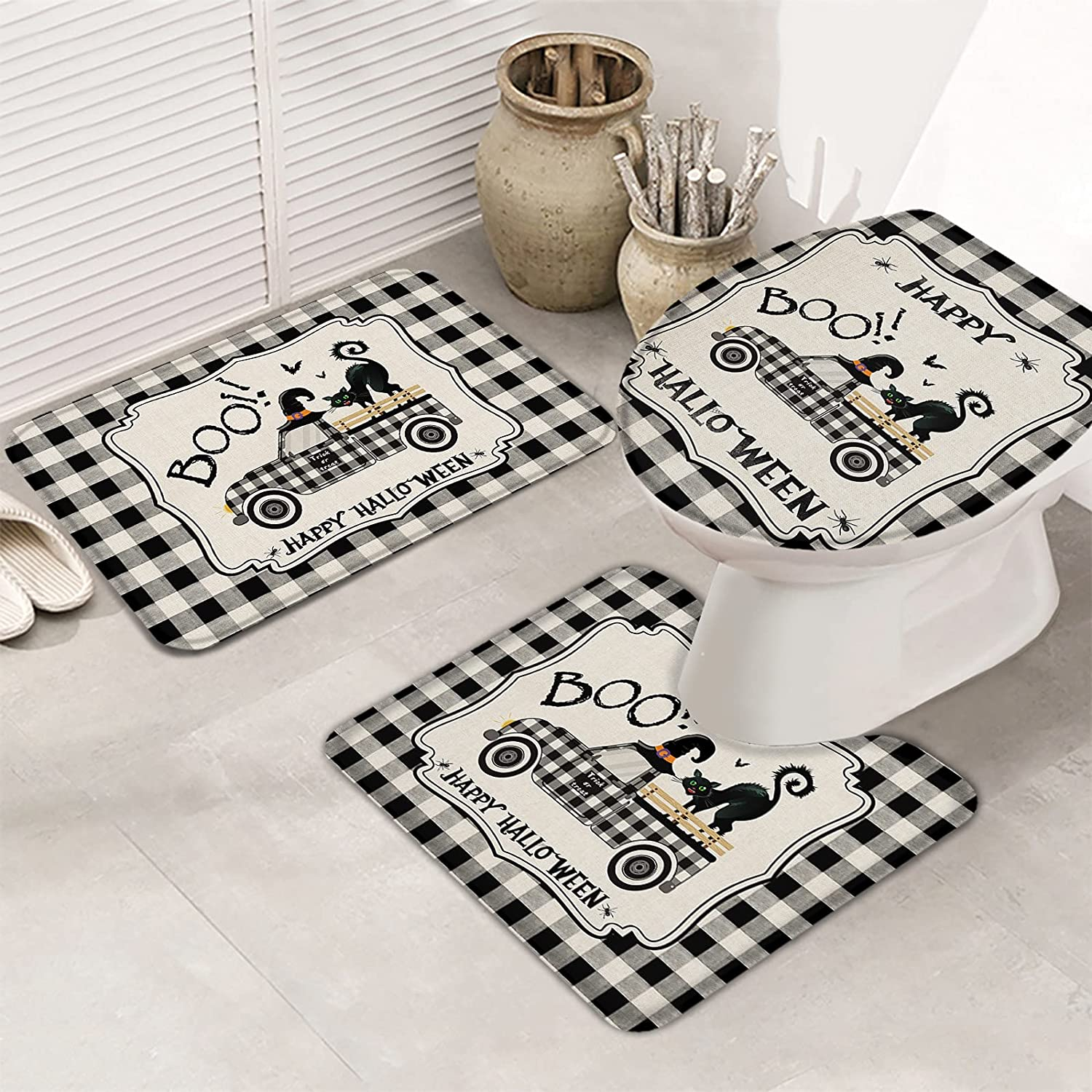 OneHoney Bathroom Rugs Ranking TOP6 Set Farm Truck N Black Cat New product! New type with Halloween