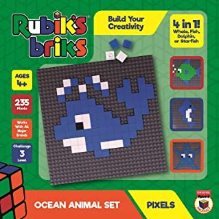 YEZI Strictly Briks Rubiks Briks 2x2 Ocean Pixel Set | STEM Toys from Inventor of Rubik's Cube | 4-in-1 Mosaic Art | Whale, Fish, Dolphin, Starfish | Includes 32x32 Baseplate & 235 Brick Tiles
